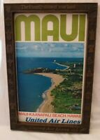 1970's UNITED AIRLINES HAWAII MAUI POSTER & ADVERTISING EMBOSSED FRAME ORIGINAL