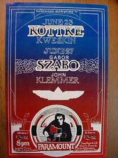 ORIGINAL / MINTY PSYCHEDELIC 1972 Concert Handbill KOTTKE, KWESKIN, GABOR SZABO