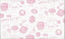 Retro Bake Baking Words Pink 100% Cotton Fabric by Makower FQ