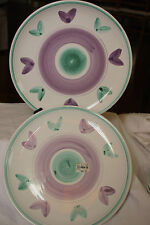 """CALECA HAND PAINTED IN ITALY(2)DINNER PLATES IN""""VIOLETTA"""" PATTERN MORE AVAILABLE"""