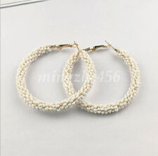 Fashion Handmade Seed Beads Boho Hoop Round Earrings Ear Stud For Women Jewelry