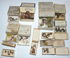 Hardy Alnwick 12 card small vintage card fly boxes with wet dry and Mayflies ...