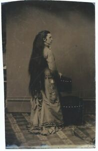 Antique Tintype Photo Woman with Long Hair