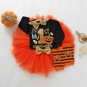 Newborn Baby Girl Kids 1st Halloween Pumpkin Tulle Tutu Dress Costume Outfit Set