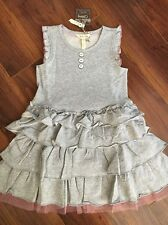 NWT Matilda Jane WHISKERS Knit Gray Ruffle Tulle Dress Girls 6 Once Upon A Time