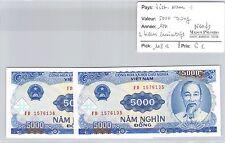 2 BILLETS VIETNAM - 5000 DONG 1991 - BILLETS CONSÉCUTIFS - NEUFS !!! *