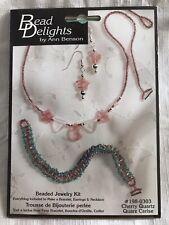 Janlynn Cherry Quartz Beaded Jewelry Kit #198-0303 Bracelet Earrings & Necklace