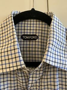 TOM FORD Check Shirt Cotton 40/15.75 WORN ONE TIME IMMACULATE