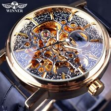 Transparent Golden Case Back Mens Watches Automatic Mechanical Skeleton Watch NR