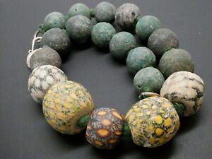 "Ancient Rare Java Jatim Majapahit Millefiori Collector 19 Bead Necklace 18"""