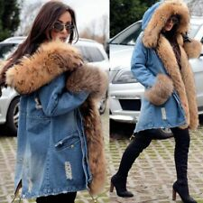 Roiii Luxury Women Denim Jacket Long Faux Fur Jean Coat Hooded Parka Size S-XXXL