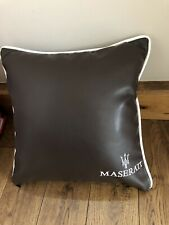 17 Inch Faux Leather Embroidered Maserati Cushion With Inner Included