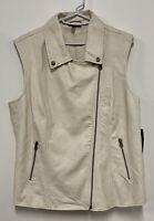 NWT - Apt 9 Cream Faux Leather Moto Vest Lined Sleeveless Asymmetrical Zip Sz L