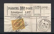 EDWARD VII 3d USED ON PARCEL POST LABEL (LIVERPOOL, MERTON ROAD, BOOTLE)
