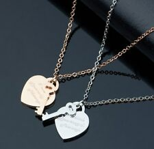 Stainless Steel Love Heart Key Pendant Necklace Silver/Rose Gold Gift Box PE12