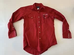 Wrangler Snap Button Long Sleeve Last Loops Shirt Men's Size 15 1/2 x 34 Red