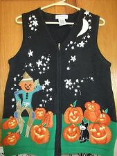Halloween Embroidered Pumpkins and Scarecrows size MED (8-10) Vest