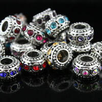 Vintage Rhinestone Crystal Silver Charms Spacer Beads Fit Women DIY Bracelet New