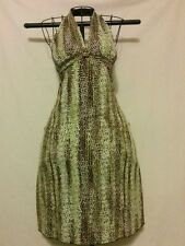 """Green/Brown XS Abstract """"Georgiou"""" Halter Clubwear, Knee length, Poly/Spandex"""