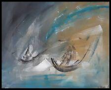 Peinture abstraite contemporaine, acrylique toile, bateau, abstract painting