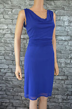 New Women's Elegant Royal Blue Sleeveless Chiffon Cowl Shift Dress Size 8 / 10