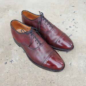 Allen Edmonds HALE Burgundy Leather Cap-Toe Oxfords sz 9 EEE MENS US