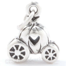 CINDERELLA'S Carriage Charm Pendant Princess STERLING SILVER Pumpkin w Heart 3D