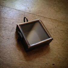 Mini Square Glass Shadow Box Locket Pendant Charm Antique Bronze Finish
