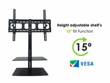 "TV Wall Mount Bracket 32"" 65"" with 2 Glass Floating Shelves Curved, 4k LED TV's"
