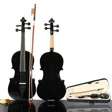 New 1/2 Size Black Acoustic Violin with Case Bow Rosin
