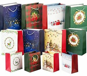 12 Pieces Christmas Bags 3 Size Gift Bags With Handles Special Design Bags Incl