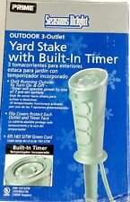 Prime Cable Garden Power Stake w 3-Outlets On/Off Switch 6 Ft. Cord with Timer