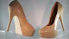 BRASH Kosmic platform high heels almond toe womens beige pumps shoes 8.5W