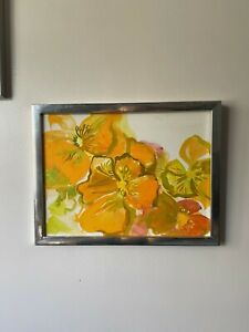 Original 1960's 70's Harriette Gingland Acrylic Floral Canvas Painting