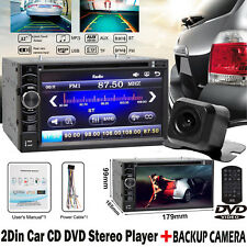 2 DIN Car Multimedia FM AM Radio DVD CD MP3 Player Bluetooth HD Rear View Camera