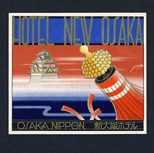Hotel New Osaka OSAKA Nippon Jaopan * Old ART DECO Luggage Label Kofferaufkleber
