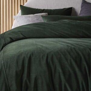 Cotton Velvet Quilt Cover Set Forest Green by Vintage Design Homewares