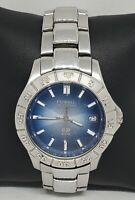 Mens Fossil Stainless Steel Silver Tone Blue Dial Analog Quartz Watch AM 3725 A9