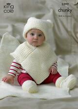 King Cole 3392 Knitting Pattern Hat Poncho Bootees & Blanket in Comfort Chunky