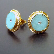 Handmade Designer Turquoise Stud Earring W/Topaz 22K Gold over Sterling Silver