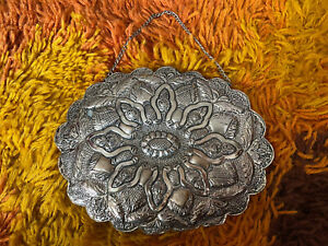 """900 Silver Frame Turkish Wedding Hanging Mirror 6"""" By 8"""" Floral Design Oval"""