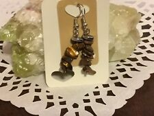 Gemstone pierced earrings Tiger Eye chips and Hematite rondelles