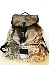 Victorias Secret PINK Backpack Gold Sequin School Book Bag Purse Tote NWT