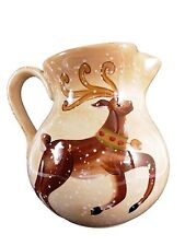 Tabletops Unlimited Ceramic Pitcher Winter Wonderland Reindeer