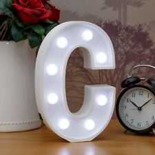 Light Up Letter C - White Marquee Letters 23cm LED Wooden Letter Lights Sign A-Z