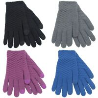 Ladies Girls Women Fleece Thermal Warm Textured Touch Screen Full Finger Gloves