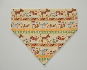 DOGS IN ROWS ON YELLOW DOG SCARF/BANDANA--S, M, L