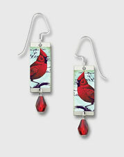 Red CARDINAL Branch Earrings by Lemon Tree STERLING Silver Dangle  - Gift Boxed