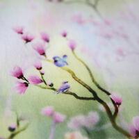 Jersey Stoff Magnolie Digitaldruck Damen Blumen Vögel Tierstoff Jerseystoffe