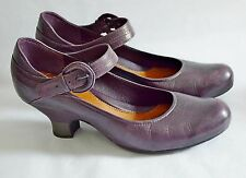 CLARKS 1920'S HEELS mary janes DOLLY SHOES purple FLAPPER 1930'S 40'S 5.5